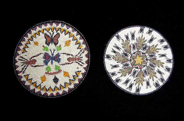 Embera native woven palm fibre plates with tarantula motifs, associated with fertility. Panama